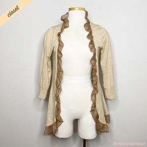 [Guinevere] Tan Striped Ruffle Open Front Cardigan